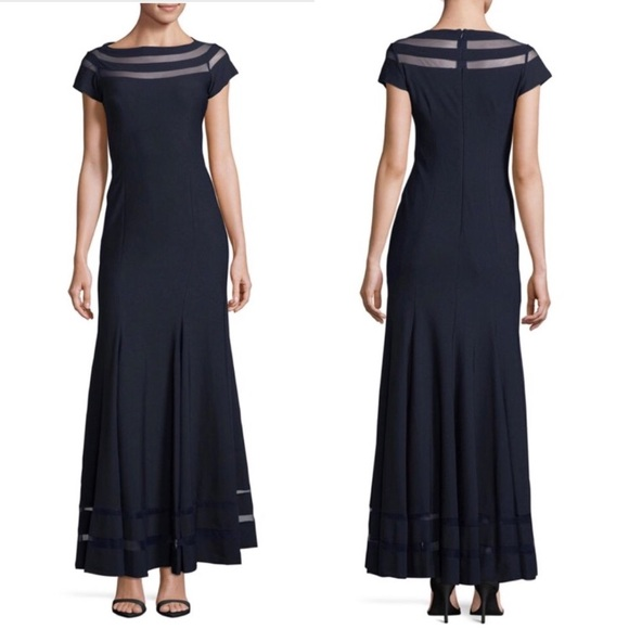 7a436b5a8b29e JS Collections Dresses & Skirts - JS Collections Ottoman Mesh Insert Maxi  Gown